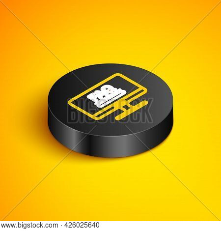 Isometric Line Computer Monitor With Text Faq Information Icon Isolated On Yellow Background. Freque