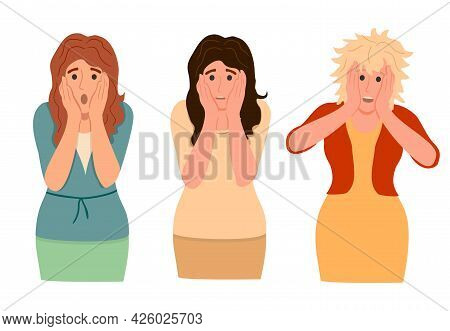 Set Of Amazed, Surprised Young Women. Three Women With Open Mouths And Excited Reactions. Flat Vecto