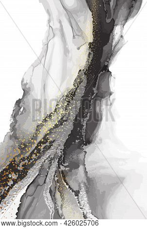 Alcohol Ink Black Transparent Pouring. Abstract Dark Flow Multicolored Marble Texture Background. Lu