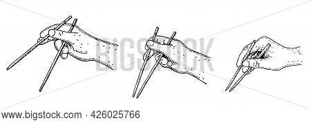 How To Use Chopsticks, Simple Vector Illustration Guide. Set Of Hand Holding Chopsticks. Sketch Vect