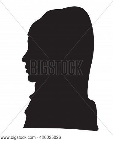 Elegant Muslim Lady Head With A Scarf. Beautiful Female Face In Profile. Silhouette Muslim Woman In