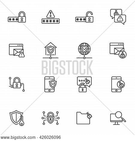 Cyber Protection And Security Line Icons Set, Outline Vector Symbol Collection, Linear Style Pictogr