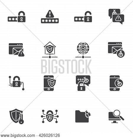 Cyber Protection And Security Vector Icons Set, Modern Solid Symbol Collection, Filled Style Pictogr