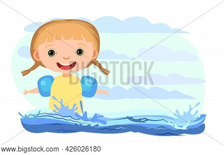 Girl Is Having Fun. Waves Of Water In River, Sea Or Ocean. Flow. Swimming, Diving And Water Sports.