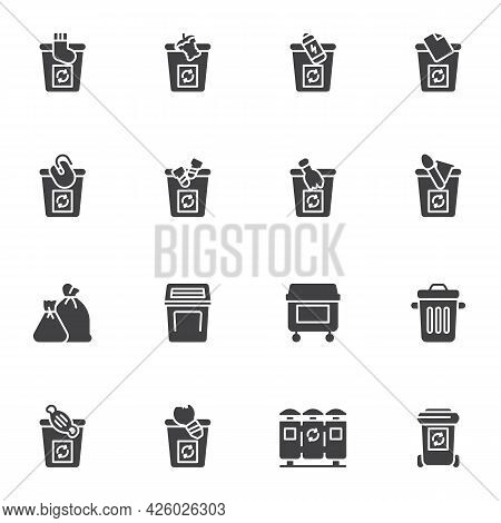 Waste Sorting Vector Icons Set, Recycling Bin Modern Solid Symbol Collection, Filled Style Pictogram