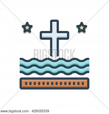 Color Illustration Icon For Liturgy Ritual Catholic Religious Holy-sign Cross