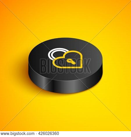 Isometric Line Castle In The Shape Of A Heart Icon Isolated On Yellow Background. Locked Heart. Love