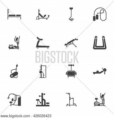 Gym Equipment Vector Icons Set, Modern Solid Symbol Collection, Filled Style Pictogram Pack. Signs,