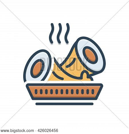 Color Illustration Icon For Lunchmeat Hot Food Beef Sliced Rolled Cooked