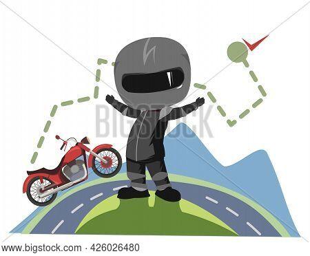 Biker Cartoon. Child Illustration. Getting To The Finish Line. Sports Uniform And Helmet. Cool Motor