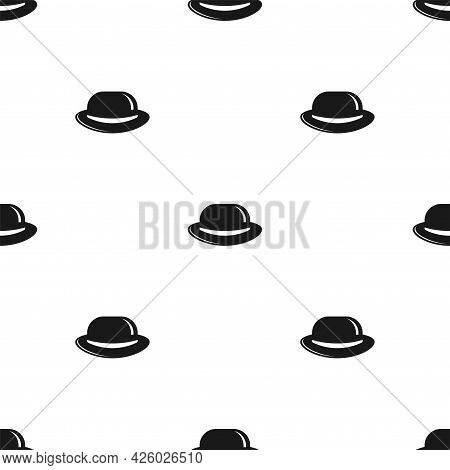 Seamless Pattern With Bowler Hats On White Background. Gentleman Simple Ornament. Vector Flat Illust