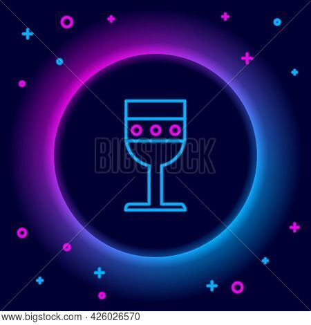 Glowing Neon Line Medieval Goblet Icon Isolated On Black Background. Colorful Outline Concept. Vecto