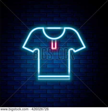 Glowing Neon Line Body Armor Icon Isolated On Brick Wall Background. Colorful Outline Concept. Vecto