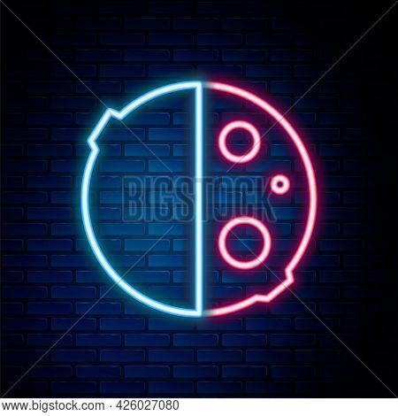 Glowing Neon Line Eclipse Of The Sun Icon Isolated On Brick Wall Background. Total Sonar Eclipse. Co