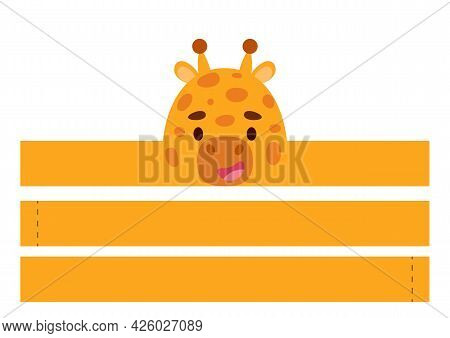 Printable Giraffe Paper Crown. Diy Cut Party Ribbon Template For Birthday, Christmas, Baby Shower. F