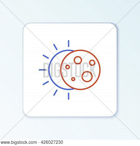 Line Eclipse Of The Sun Icon Isolated On White Background. Total Sonar Eclipse. Colorful Outline Con
