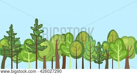 Flat Forest. Horizontal Seamless Composition. Cartoon Style. Blue Sky. Funny Green Rural Landscape.