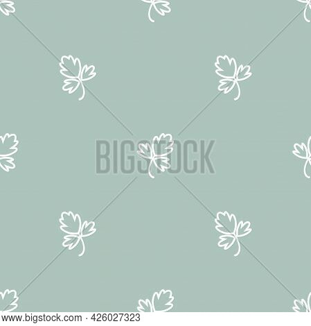 Seamless Ornament With White Parsley Twig, Shoot, Sprig On Powder Blue Background. Eco, Agriculture,