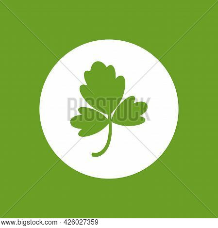 Green Parsley Twig, Shoot, Sprig. Icon Isolated On White. Logo For Eco Company, Agriculture, Nature