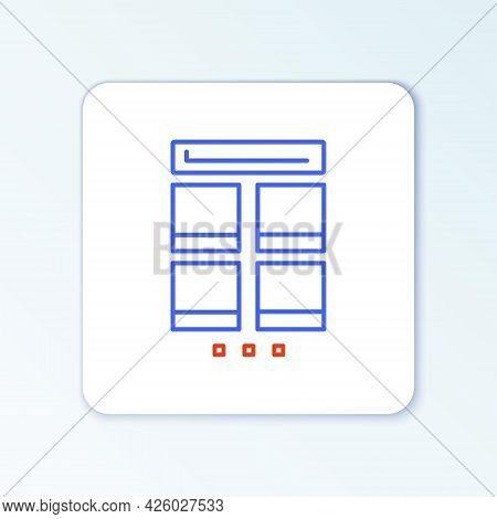 Line Online Shopping On Mobile Phone Icon Isolated On White Background. Internet Shop, Mobile Store