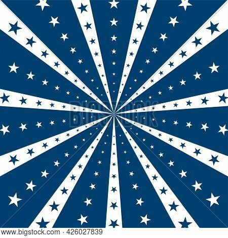 Sunlight Horizontal Background. Blue And White Color Burst Background With Shining Stars. Vector Ill