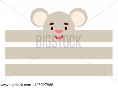 Printable Mouse Paper Crown. Diy Cut Party Ribbon Template For Birthday, Christmas, Baby Shower. Fun