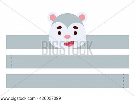 Printable Opossum Paper Crown. Diy Cut Party Ribbon Template For Birthday, Christmas, Baby Shower. F