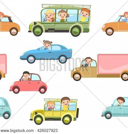 Children Drive Cars And Bus. Seamless Cartoon Pattern. Kids Motorists. Childrens Background Isolated