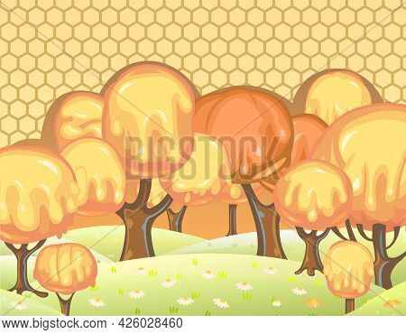 Fabulous Sweet Landscape With Honey Trees. Childrens Fantastic Illustration With A Honeycomb. Cartoo