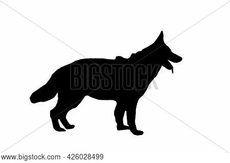 Black Silhouette Of A German Shepherd Against A White Background. Adult Dog Standing With Mouth Open