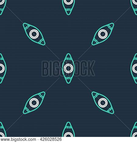 Line Kayak And Paddle Icon Isolated Seamless Pattern On Black Background. Kayak And Canoe For Fishin