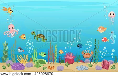 Bottom Of Reservoir With Fish And Turtle. Blue Water. Sea Ocean. Underwater Landscape With Animals.