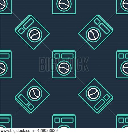 Line Washer Icon Isolated Seamless Pattern On Black Background. Washing Machine Icon. Clothes Washer