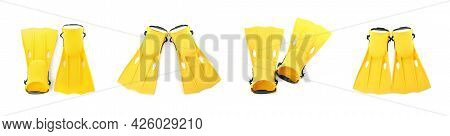 Set With Yellow Flippers On White Background, Top View. Banner Design
