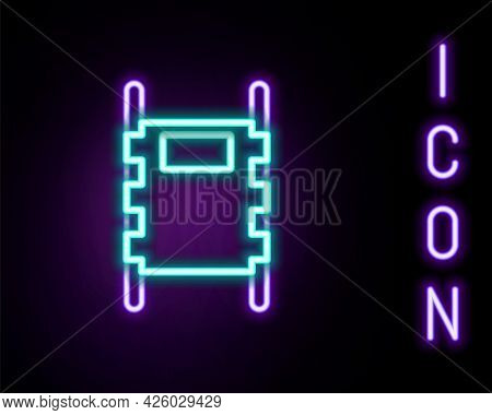 Glowing Neon Line Stretcher Icon Isolated On Black Background. Patient Hospital Medical Stretcher. C