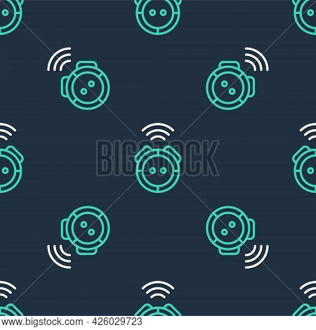 Line Robot Vacuum Cleaner Icon Isolated Seamless Pattern On Black Background. Home Smart Appliance F