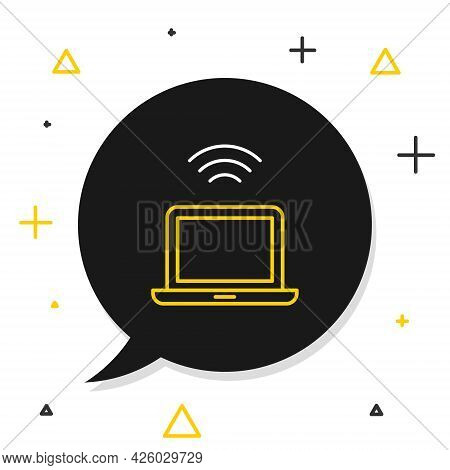 Line Wireless Laptop Icon Isolated On White Background. Internet Of Things Concept With Wireless Con