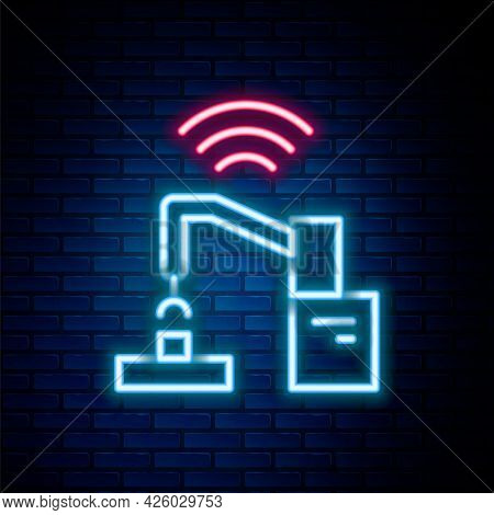 Glowing Neon Line Industrial Machine Robotic Robot Arm Hand Factory Icon Isolated On Brick Wall Back
