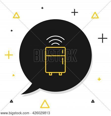 Line Smart Refrigerator Icon Isolated On White Background. Fridge Freezer Refrigerator. Internet Of