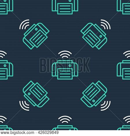 Line Smart Printer System Icon Isolated Seamless Pattern On Black Background. Internet Of Things Con
