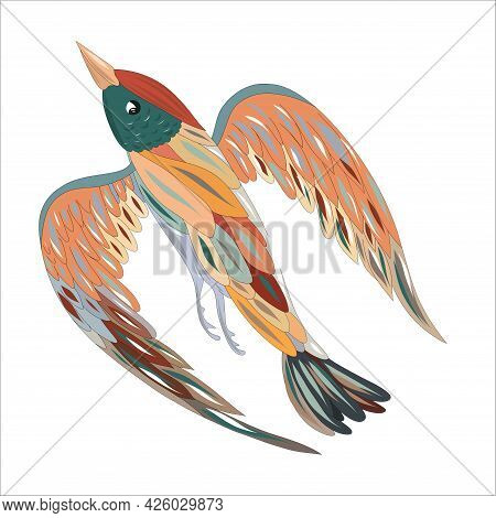 Colorful Bird Of Paradise Isolated On White Background. The Bird Of Happiness. Vector Illustration