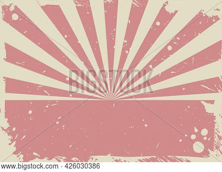 Sunlight Retro Grunge Background. Red And Beige Color Burst Background. Vector Vertical Illustration