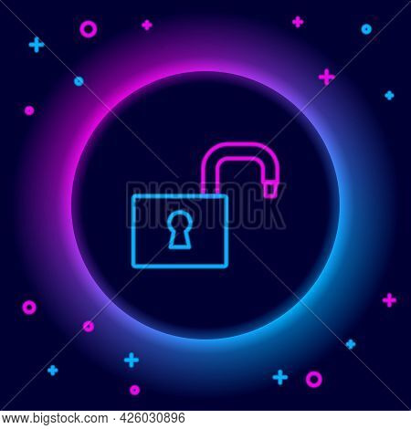 Glowing Neon Line Open Padlock Icon Isolated On Black Background. Opened Lock Sign. Cyber Security C