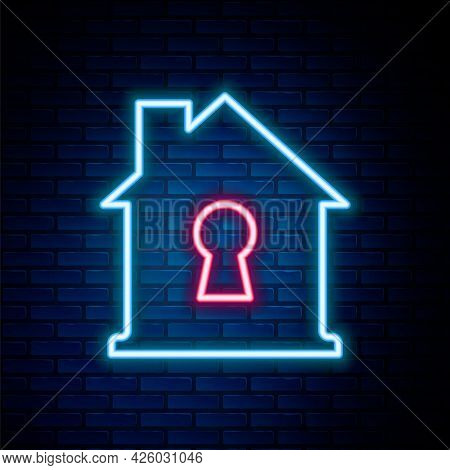 Glowing Neon Line House Under Protection Icon Isolated On Brick Wall Background. Home And Shield. Pr