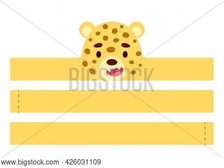 Printable Cheetah Paper Crown. Diy Cut Party Ribbon Template For Birthday, Christmas, Baby Shower. F