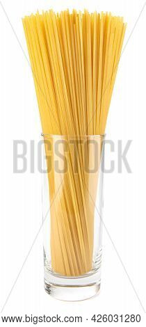 Yellow Long Spaghetti Isolated On White Background. Thin Pasta Arranged In Rows. Yellow Italian Past