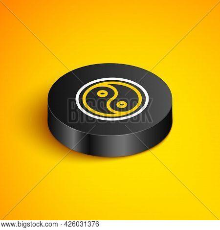 Isometric Line Yin Yang Symbol Of Harmony And Balance Icon Isolated On Yellow Background. Black Circ