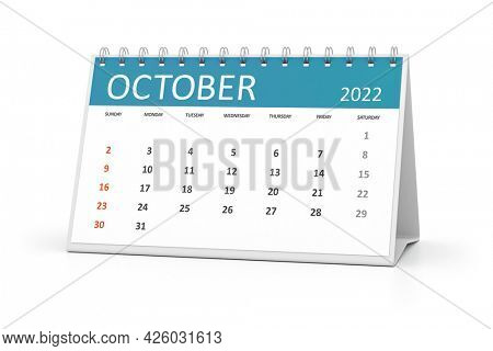 a table calendar for your events 2022 october. 3d illustration