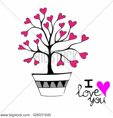 Hand-drawn Love Tree. Red Hearts Instead Of Leaves. Decoration For Bags, Tunics, Dresses, Postcards