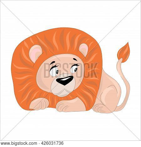The Little Lion Cub Is Hiding. Isolated On White Background Lion With A Large Mane. Vector Illustrat